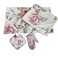 """Комплект для кухни """"Large Pink Rose"""", , 175.00 грн., 10097, Прованс, Прихватки и рукавички"""